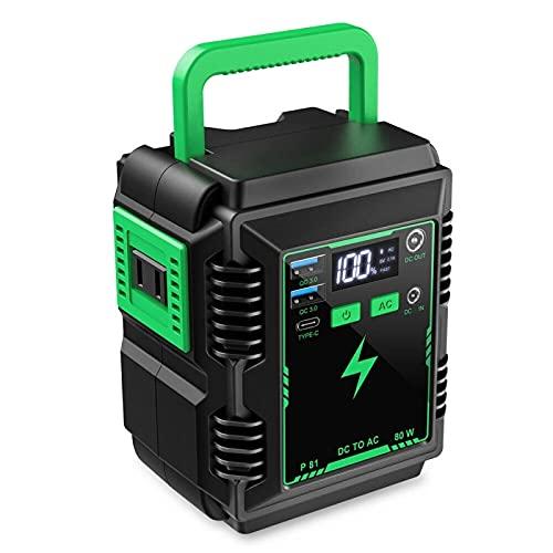 Feixunfan Generatori Inverter 74WH 20000Mah Solar Power Station Portatile 80 W Alimentazione Elettrica di Backup di Emergenza per i Viaggi in Campeggio (Colore : Black+Green, Size : 74Wh)