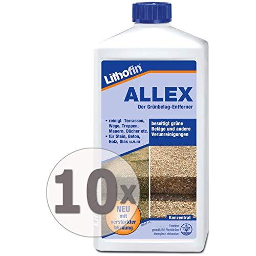 Lithofin ALLEX 10 l (10 x 1 l) - Grünbelag-Entferner Algen- und Moosentferner - Ideal zum vorbeugen gegen grüne & rutschige Beläge