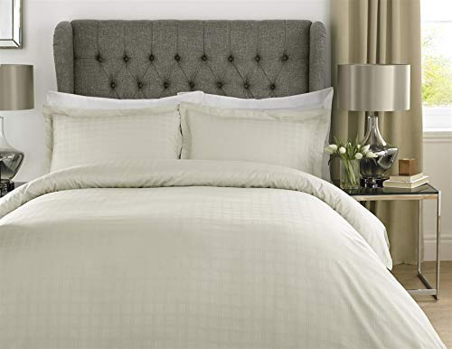 ALT90 400TC Thread Count 100% Cotton Satin Check Duvet Cover Set Hotel Collection Bedding-Cream-Single