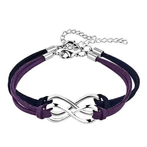 JewelryJo Infinity Endless Love Hope Handmade Leather Wrap Wristband Adjustable Bracelets Sky Blue
