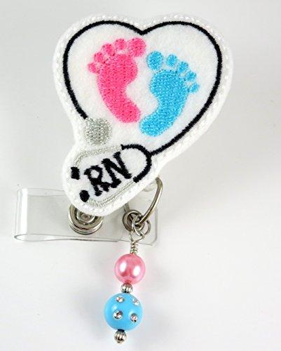 Baby Feet RN Heart Stethoscope - Nurse Badge Reel - Retractable ID Badge Holder - Nurse Badge - Badge Clip - Badge Reels - Pediatric - RN - Name Badge Holder