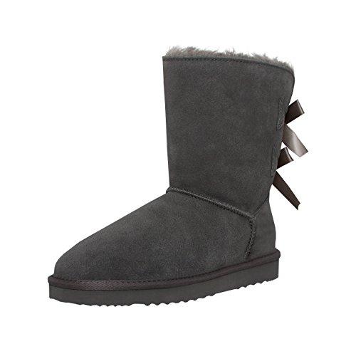 SKUTARI Playful Double Bow Boots, handgefertigte italienische Lederstiefel für Damen mit gemütlichem Kunstfellfutter, Rutschfester und Gepolsterter Sohle, Grau, 36 EU