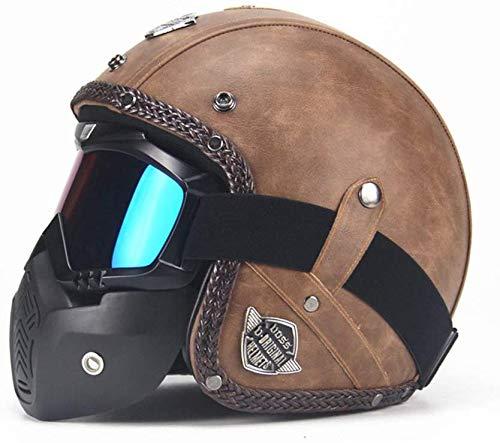 Helmet Personalidad Hecha a Mano Jet Motorcycle Open Face 3/4 Half, Moto Chopper Cruiser Scooter Bobber Vintage Harley Crash Half Helmets Unisex con máscara -LWAJ