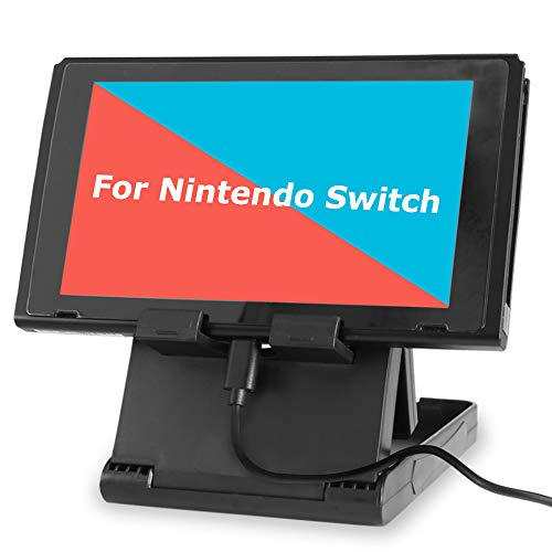 Stand for Nintendo Switch, TJS Nintendo Switch Stand Holder [Play While Charging] [Multi-angle Adjustable] [Travel Friendly] Switch Stand Dock Bracket with Air Vents, Portable Playstand Cradle (Black)