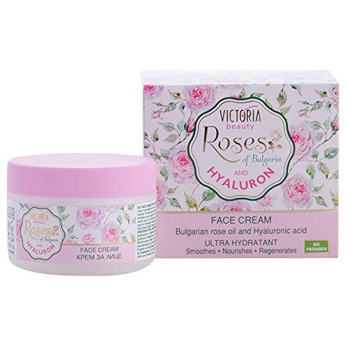 Victoria Beauty - Anti Aging Creme für Frauen, straffende Gesichtscreme, Hyaluron Creme mit Rösenöl - spendet intensiv Feuchtigkeit (1 x 50 ml)