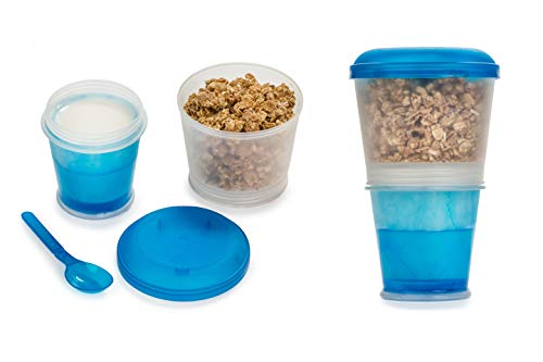 Cereal On the Go Cups Breakfast Drink Cups Portable Yogurt and Cereal To-Go Container Cup - Blue