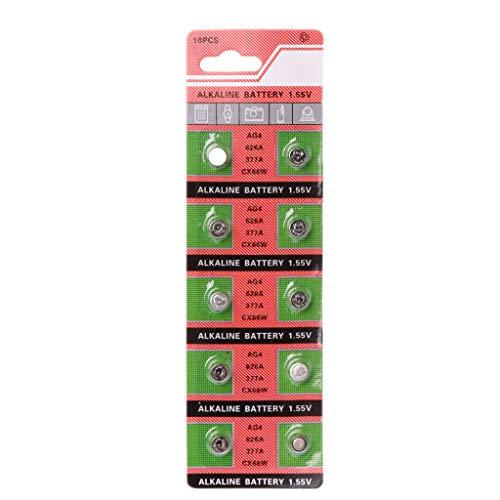 FXCO - Lote de 10 botones de batería para reloj AG4 377A 377 LR626 SR626SW SR66 LR66 LR66 pilas de botón para cámara y mando a distancia