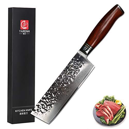 YARENH Cuchillos de Cocina Verdura 17cm - Cuchillo de Cocina Profesional de Acero de Japones Damasco - Mango de Madera Dalbergia - Cuchillos de Cocinero Ultra Filoso HTT-Serie