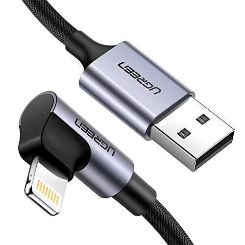 UGREEN 2M Câble Lightning USB Coudé 90 Degrés en Nylon Tressé Compatible avec iPhone 12 Pro Max Se 2020 11 Pro Max X XR XS Max 8 Plus 6S Plus 6 iPad 2020 iPad Pro 2017 (Noir)