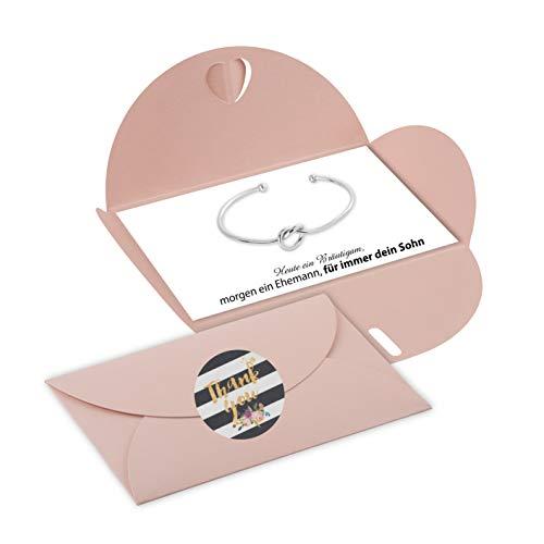 Lillyville - Bräutigam Mutter Geschenk mit Brezel Armreif Silber und Karte - Heute Bräutigam, für Immer Dein Sohn - Hochzeit Armreif - Umschlag Rosa