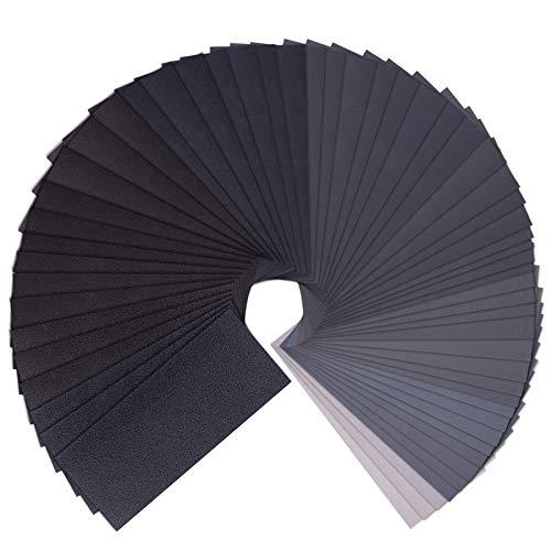 SIQUK 57 Stück Schleifpapier Set, Schleifpapier Nass und Trocken Schleifpapier 80-10000 Körnung Schleifpapier Sortiment Nass Sandpapier für Holzmöbel, Stein, Metall, 23 x 9 cm