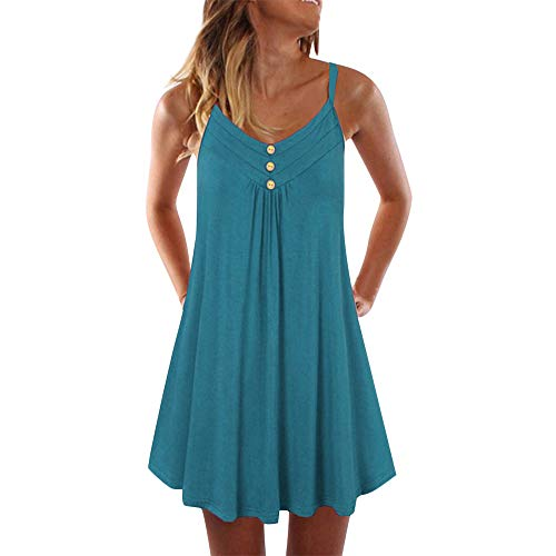Aniywn Spaghetti Straps Dress for Women Summer Sleeveless Large Size Solid Color Buttons Mini Dress Pleated Swing Dresses Green