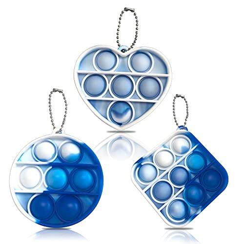 3 Pcs Mini Tie-dye Pop Bubble Fidget Sensory Toys - LucaSng Mini Stress Relief Hand Toys Keychain Toy Bubble Wrap Pop Anxiety Stress Reliever Office Desk Toy for Kids Adults(Blue)