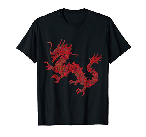 Red Chinese Firedrake T-Shirt Dragon Print Art Wear