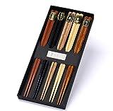 Gs1 global office palillos chinos 5 pares de palillos naturales lavables reutilizables palillos de madera con lujosa caja negra