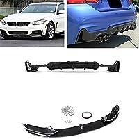 カーバンパーガード フロントスポイラースプリッターフィット2014-2020 BMW F32 F33 F36 4シリーズMスポーツカーリアバンパーディフューザーリップバイラテラルエキゾーストダブルアウト (Color : Front Rear Bumper)