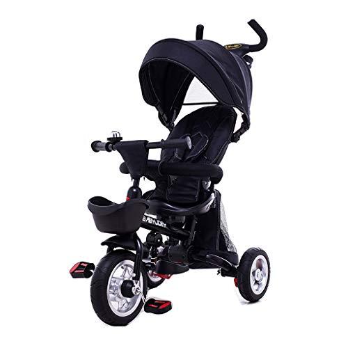 Cochecito de bebé Triciclo para niños de 1 a 5 años de edad, cochecito descapotable, cochecito de lujo con portavasos Carrito de bebe (Color : Black)