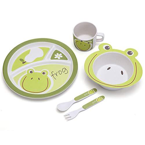 ZT Set vajilla Infantil de bambú sin BPA, 5 Piezas, Servicio de Mesa cubertería para niños Vaso de Beber Plato para niños, Ecológico y Biodegradable. (Rana)