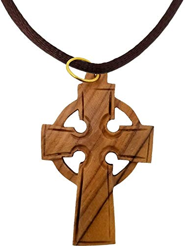 Logos Trading Post Holy Land Olive Wood Pendant Necklace from Israel, Celtic Cross, Hand Carved Olive Wood Pendant from Jerusalem with Attached Cord