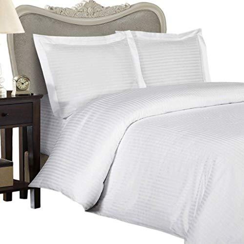 Egyptian Cotton Factory Store Parure de lit luxueuse à rayures damassées blanches pour lit double, 1000 fils au pouce carré ultra doux 100 % coton égyptien, 3 pièces comprenant 2 taies d'oreiller/taies d'oreiller 1000 fils