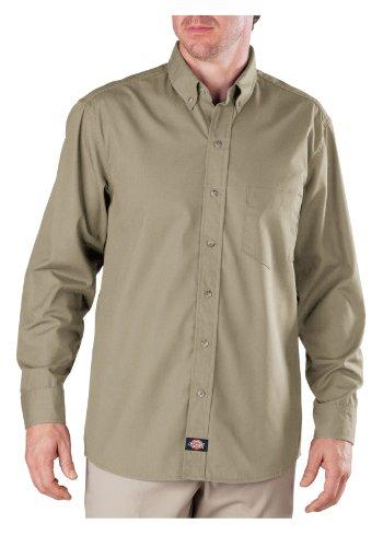 Dickies - - Hommes LL500 qualité industrielle à manches longues boutonné en popeline shirt, Medium x Long, Khaki