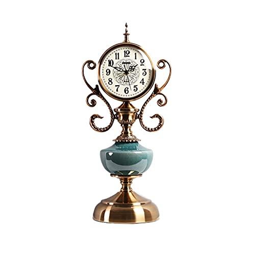 Tingting1992 Alarm Clock Table Clock European Style Retro Table Clock Metal Table Clock Desktop Ornaments Home Bedroom Bedside Clock Mute Table Clock Desk Clock (Size : B)