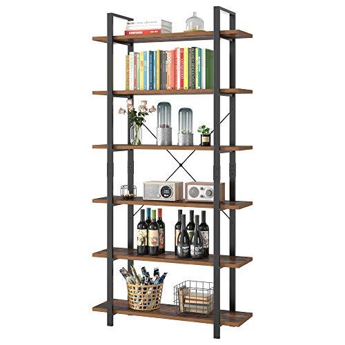 Homfa Standregal Bücherregal Küchenregal mit 6 Ebenen aus Metall Holz Vintage Industrial Schwarz 210.5x105.2x33cm
