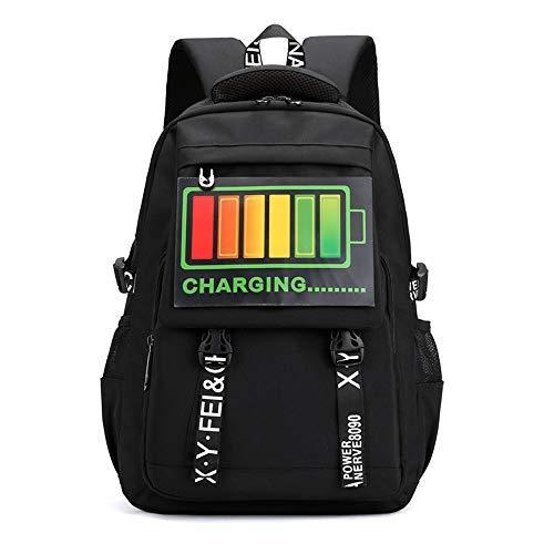 Eenvoudig en praktisch, verlichte rugzak, casual, voor dames en heren, schoudertas, reistas, laptoptas, 17 inch, 30 x 45 cm, zwart/E.