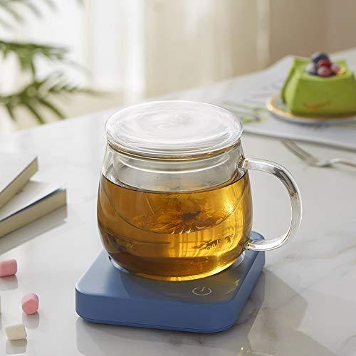 Luckylj Elektrischer Getränkewärmer, Für Tee, Wasser, Kakao, Milch Mit Automatischer Abschaltung Nach 8 Stunden,Blau,Teacup
