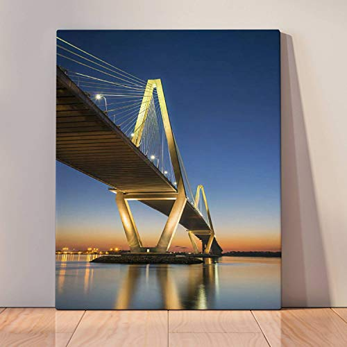 Paint by Numbers Kits Digital Oil Painting for Kid Adult Beginner Drawing Paintwork with Frame Home Office Gift Indoor Outdoor - View of Arthur ravenel jr Bridge in Charleston sc Golden City Stock