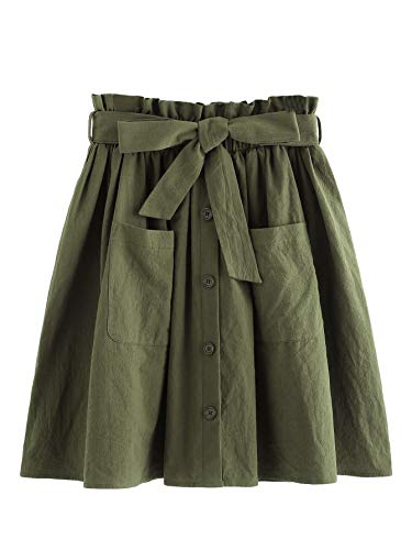 SheIn Women's Casual Self Tie Waist Frill Double Pocket Short Skirt Army Green Large