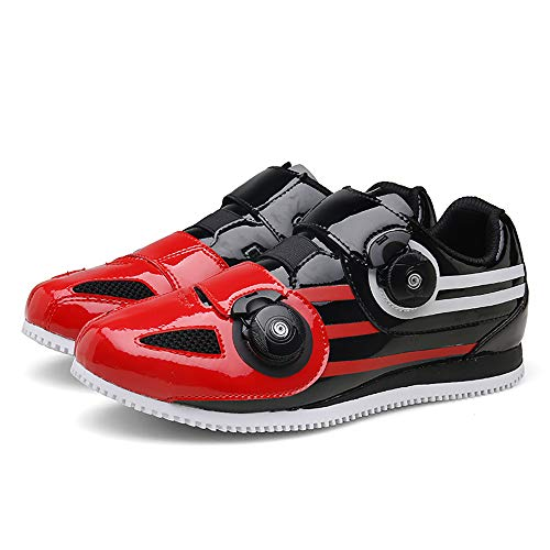 JQKA Zapatillas de Ciclismo MTB para Hombres Mujer Zapatillas De Bicicleta de Montaña Zapatillas Ciclismo Carretera Antideslizantes Respirables Calzado de Ciclismo(Size:37,Color:Negro-Rojo)