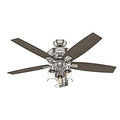 Hunter Indoor Ceiling Fan, with remote control - Bennett 52 inch, Brushed Nickel, 54190