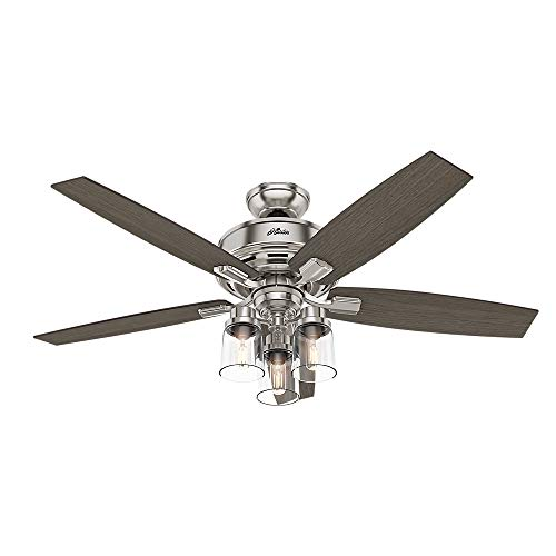 """HUNTER 54190 Bennett Indoor Ceiling Fan with LED Light and Remote Control, 52"""", Brushed Nickel"""