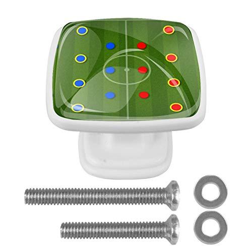 Paquete de 4 herrajes Blancos para gabinetes Juego de campo de fútbol Perilla cuadrada con tornillos de montaje, tiradores de un solo orificio 3x2.1x2 cm