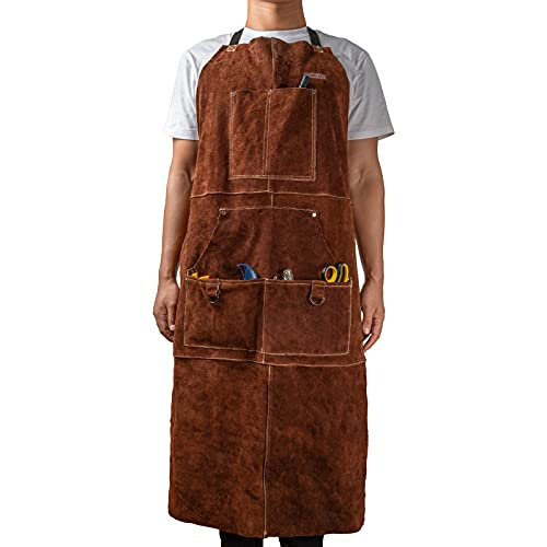 """YESWELDER Welding Apron Leather Work Apron with Tool Pockets Heat & Flame Resistant Men Woodworking Shop Aprons Heavy Duty Adjustable for Welders 41 x 23"""""""