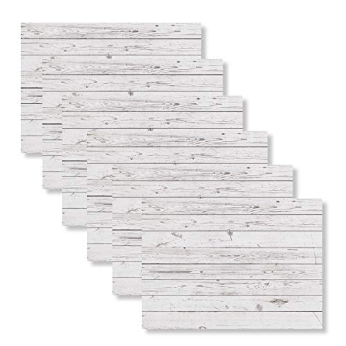 Blissful Living Set of 6 Placemats, Stain Resistant - Decorate Your Kitchen Table with Our Beautiful Rectangle pad placemat (Whitewash Wood)