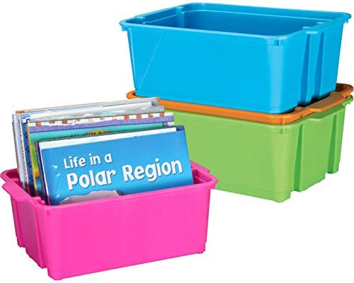 Really Good Stuff Low price Stackable Plastic Book Max 47% OFF and Bins Organizer for