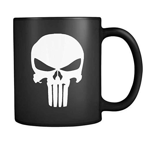 El símbolo del castigador marvel hero frank castle taza de café - regalo negro para amigo amante madre padre esposo esposa fan hijo hija en navidad cumpleaños acción de gracias pascua año nuevo vísper