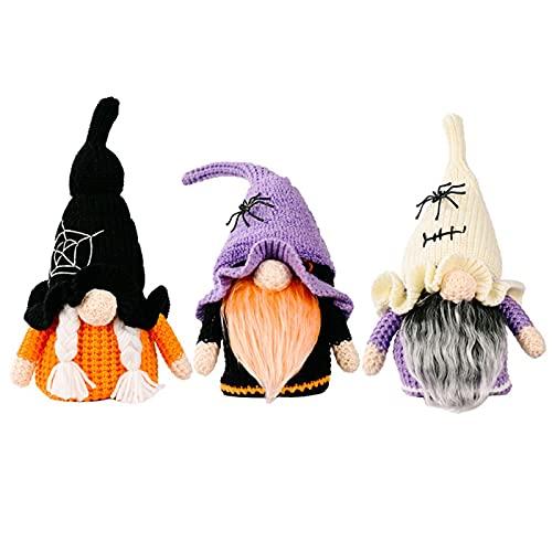 Yeah-hhi 3Pcs Hechos A Mano De Punto Sin Rostro Gnomo Halloween GNOME con Sombrero De Asistente, para Fiestas, Adornos De Escritorio, Decoración Hogareña,Multi Colored