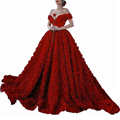 Dimei Off Shoulder Long Prom Dress with Rose Floral Ruffles A Line Puffy Sweet 16 Quinceanera Dresses Train V-Neck Ball Gown