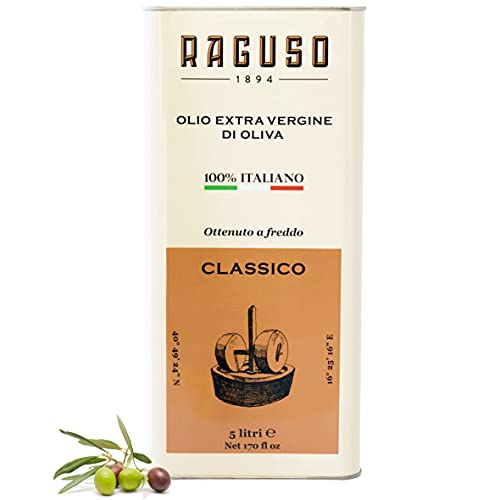 """FRANTOIO RAGUSO - Huile D'olive Extra Vierge 5L - Classique - 100% Olives Italiennes - Pressées À Froid - Arôme Moyen - Lauréat """"Gambero Rosso"""""""