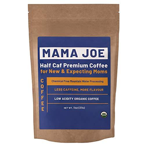 Mama Joe Organic Half Caff Coffee [Ground] - Low Acid, Low Caffeine Coffee for Pregnancy - Naturally Decaffeinated Using Mountain Water