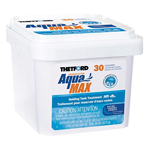 Thetford AquaMAX Spring Showers Scent RV Holding Tank Treatment, Formaldehyde Free, Waste Digester, Septic Tank Safe, 30 Count Toss-Ins (96632)