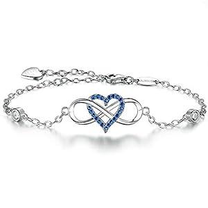 BlingGem Damen Armband Unendlichkeit Herz Weißgold vergoldet 925 Sterling Silber Blau Zirkonia Bettelarmband Für Immer Zusammen Geschenk für Frauen