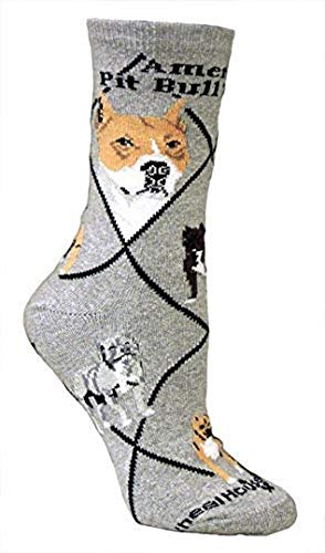 American Pit Bull Terrier on Gray Ultra Lightweight Cotton Crew Socks - Made in USA 1