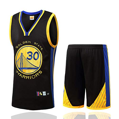 HANJIAJKL Basketball-Trikots Set für Männer,NBA Golden State Warriors Stephen Curry # 30 Basketball-Shirt Weste Top+Sommershorts,Schwarz,M