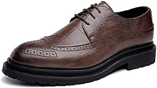 CHENDX Schuhe, Herren Classic Lace Up Breathable Square Texture Formale Business gefüttert Oxfords PU Leder Brogue Schuhe (Farbe   Braun, Größe   44 EU)