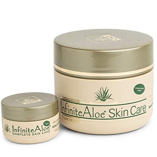 InfiniteAloe Skin Care Moisturizer - Cream For Dry, Oily and Combination Skin - Face + Body skincare for Men, Women, Teens and Baby - Fragrance Free - (1) 8oz + (1) Bonus 0.5oz Travel Size