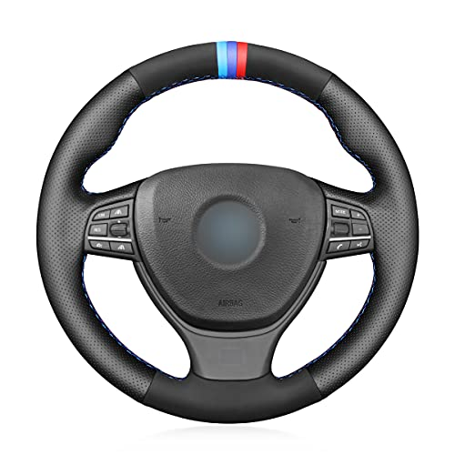 MEWANT Black Microfiber Leather and Suede Steering Wheel Cover for BMW M Sport F10 F11 (Touring) F07 F12 F13 F06 F01 F02 M5 F10